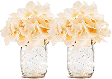 Pinshion Mason Jar Sconce, Set of 2 Mason Jar Rustic Wall Sconces Home Decor Wall Sconce with 30 LED Fairy Lights 4 Hydrangea