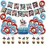 Mario Party Supplies, 38 piezas Super Mario Decoración para Fiestas de Cumpleaños Super Mario Bros para fiesta de cumpleaños Tarjetas de Tarta Adornos de Casa para Fiestas
