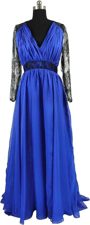 Charmingbridal Long Sleeve Black Lace Royal bluee Prom Dress Formal Evening Dress