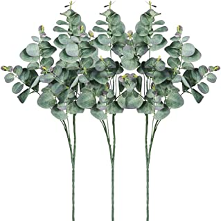 SUPLA 3 Pack Artificial Eucalyptus Spray Faux Silver Dollar Eucalyptus Leaves Stems 25.2