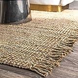 Rangneel Fabrics Alfombra de yute rectangular de fibra natural tejida a mano (5 x 8 pies)