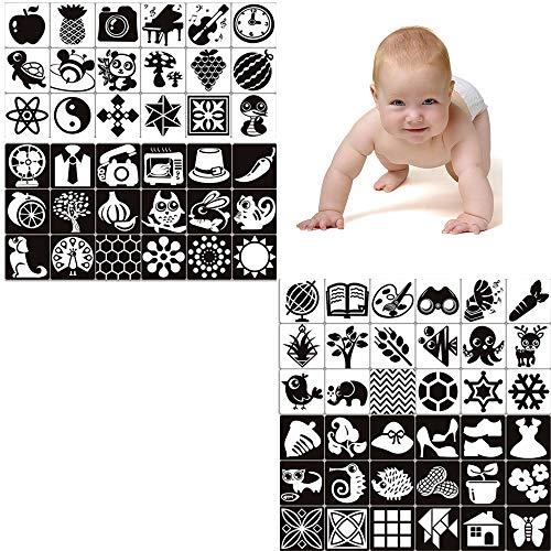 72 Bilder Schwarz Weiß Kontrastkarten Flash Karten fü Baby Neugeborene Kinder Kleinkind, Lernkarten mit Tieren Fruchtform Kontrast Flashcards Cards Bildkarten Spielkarten Geschenke für Lernspielzeug