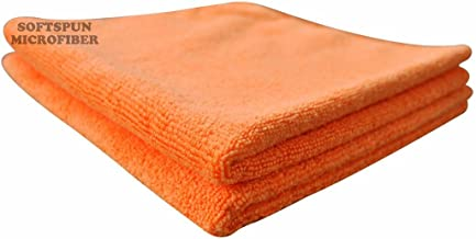 SOFTSPUN Microfiber Cloth - 2 pcs - 40x40 cms - 340 GSM Orange - Thick Lint & Streak-Free Multipurpose Cloths - Automotive Microfibre Towels for Car Bike Cleaning Polishing Washing & Detailing