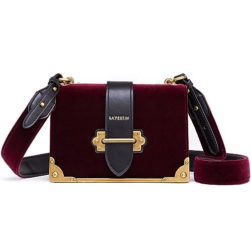 LA FESTIN Vlevet Leather Shoulder Bag for Ladies Cross Body Handbag af9a01b02563b