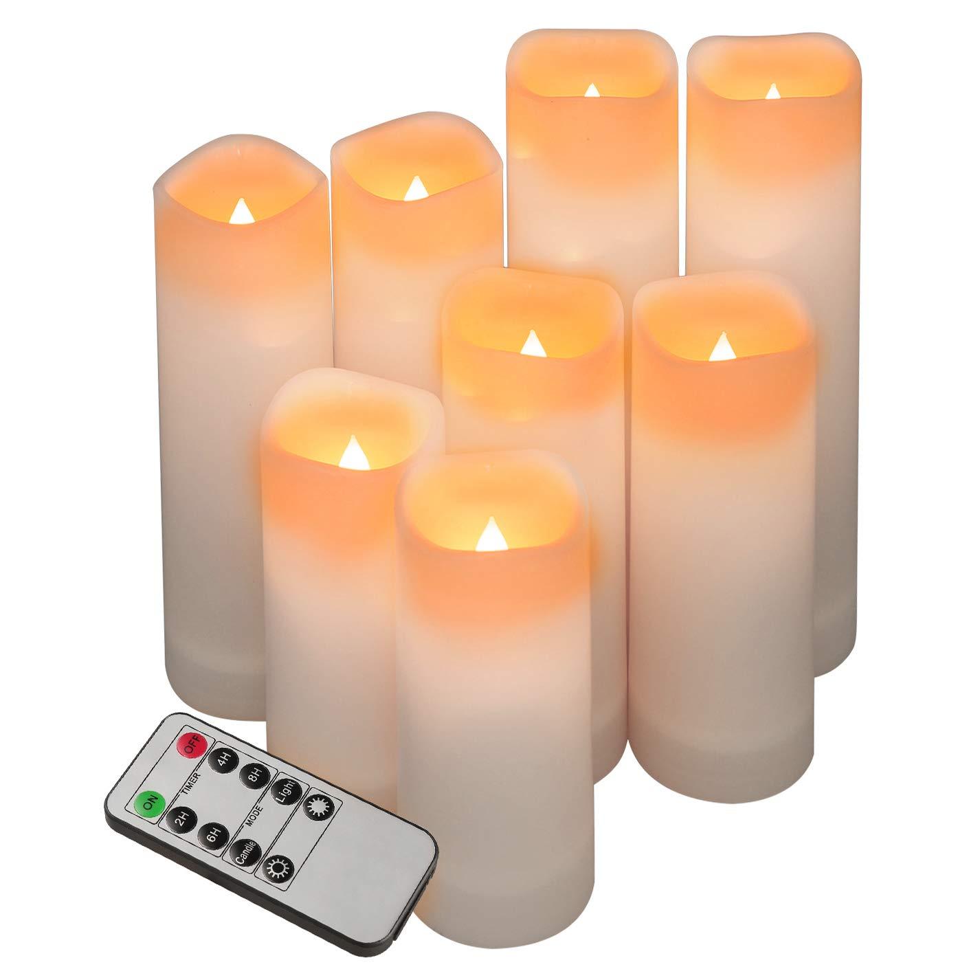 Flameless Candles Waterproof Outdoor Set Of 9 D 2.2/'/' X H 5/'/'5/'/'6/'/'6/'/'6/'/'7/'/'7/'/'7