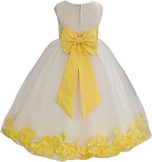 8ab1ae320e Wedding Pageant Flower Petals Girl Ivory Dress with Bow Tie Sash 302a