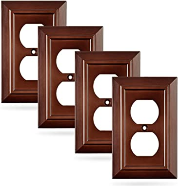 Pack of 4 Wall Plate Outlet Switch Covers by SleekLighting | Decorative Dark Brown Mahogany Look | Variety of Styles: Decorat