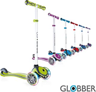 Globber V2 3-Wheel 4 Adjustable Height Scooter w/Flashing Lights Zero Assembly Learn to Steer Patented Steering Lock Great for Kids & Toddlers Girls or Boys Reinforced Body Supports Up to 110lbs