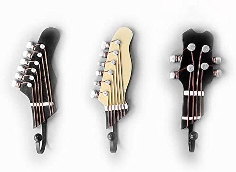Montado En La Pared Abrigo Sombrero Ganchos para Toalla Forma De Guitarra Ganchos Decorativos para Ropa Vintage 3 Piezas
