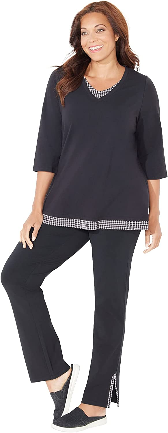 Catherines Women's Plus Size Petite Suprema Top and Pant Set