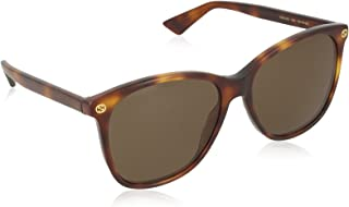 Gucci Women's Sunglasses Oval GG0024S, Havana