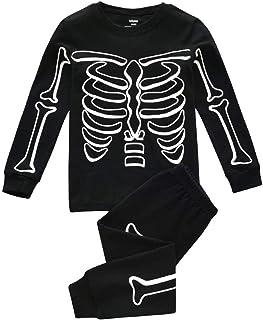Janly Clearance Sale Conjunto de pantalones para bebé de 0 a 10 años, pijama para niños que brillan en la oscuridad de Hal...