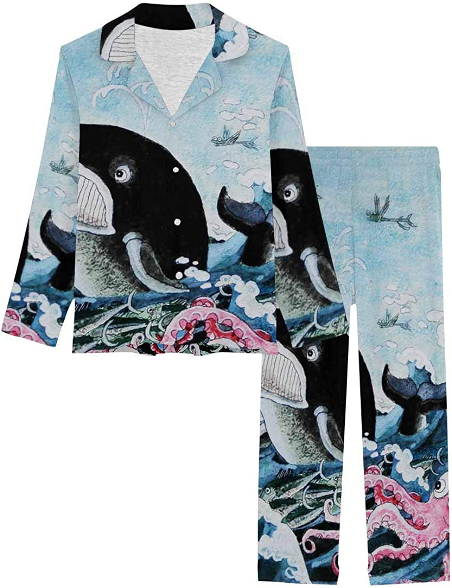 InterestPrint Long Sleeve Loungewear Classic Notch Pj Set service Collar Whale S