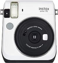 Fujifilm Instax Mini 70 - Cámara Analógica Instantánea (ISO 800, 0.37X, 60 mm, 1:12.7, Flash Automático, Modo Autorretrato, Exposición Automática, Temporizador, Modo Macro), Blanco Luna