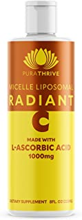 PuraTHRIVE Liposomal Vitamin C 1000 mg Liquid Supplement with Citrus & Vanilla Oil by PuraTHRIVE. Liposomal Delivery for Maximum Absorption. Vegan, GMO Free, Made in The USA
