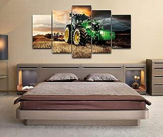 120Tdfc Impresiones sobre Lienzo John Deere Tractor cortacésped agrícola Cuadros En Lienzo Modernos 5 Piezas Lienzo HD Pared Hogar Pasillo Mural Listo para Colgar Decor Obra Arte Enmarcar Regalo