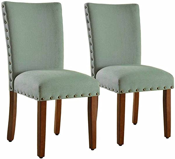 HomePop Parsons Classic Upholstered Accent Dining Chair With Nailheads Set Of 2 Sea Foam