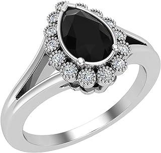 Anello di fidanzamento minimalista con diamante nero a forma di pera in oro 14 carati