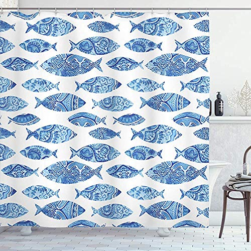 Blauer Duschvorhang Fisch Meerestier mit osmanischen verzierten Mosaik handgezeichneten Stil Marine Artwork Stoff Stoff Bad Dekor Dekor mit Haken blau weißBlue Shower Curtain Fish Sea Animal with Otto