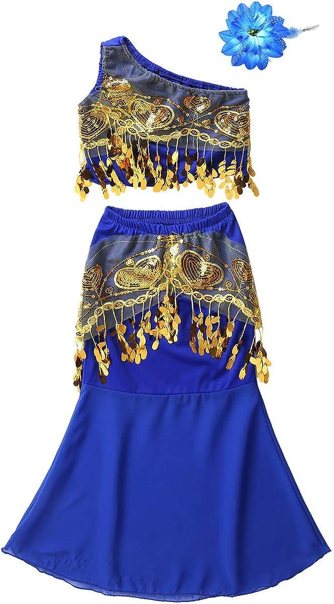 Filles Enfants Ventre Danse Costume haut ceinture jupe pantalon indien robe de scène Outfit
