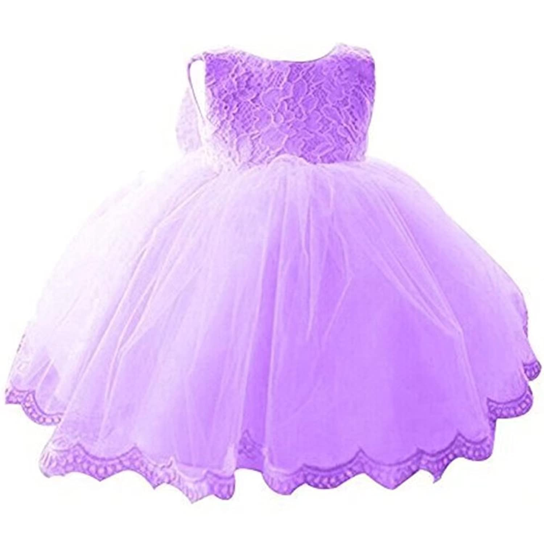 ZAH 子供服 ドレス ガールズワンピース フォーマルドレス キッズ 女の子 お嬢様 リボン付き 可愛い 発表会 結婚式 演奏会 パーティー (Purple,8Y)
