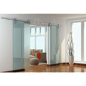 Diyhd 12FT Stainless Steel Glass Double Bi-Parting Sliding Barn Door Interior Partition Door Office Glass Door Sliding Track Kit 12ft-Double Door kit
