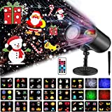 Christmas Projector Lights, 2-in-1 Ocean Wave and Moving Patterns LED Projector with 20 Slides, Waterproof Indoor Outdoor Projectors for Home, Garden, Holiday, Xmas, Party