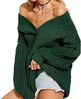 Mujer Sudaderas Anchos Moda Pullover Punto Otoño Manga Larga Color Sólido Sin Tirantes Modernas Casual V-Cuello Camisas Sw...