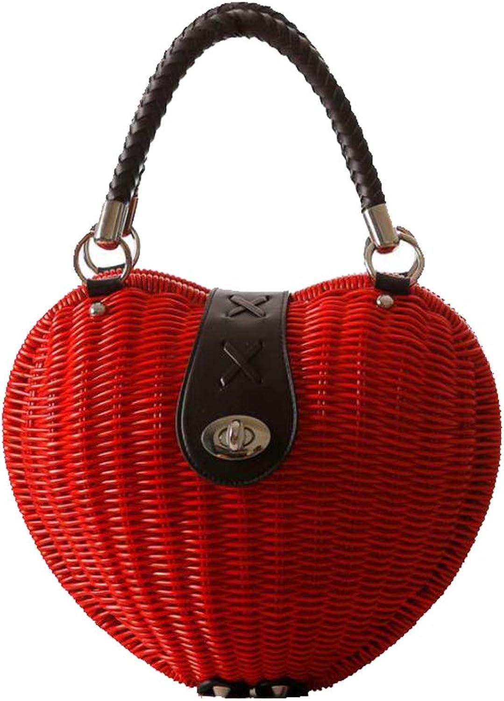 GGCL Stroh Beutel Herzförmige Rattan Tasche Tragbare Gewebte Tasche Weibliche Weibliche Weibliche Tasche Lässige Tasche Strandtasche (Rot) B07GRGXRND  Schönheit fängt hier an 4a4565