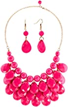 CharmSStory Vintage Beaded Bubble Bib Chunky Statement Pendant Necklace Earrings Set for Gifts