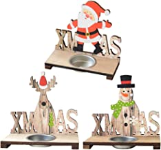 KESYOO 3Pcs Christmas Tealight Candle Holders Wooden Candlestick Holders with Santas Snowman Deer Xmas Festival Desktop Ho...