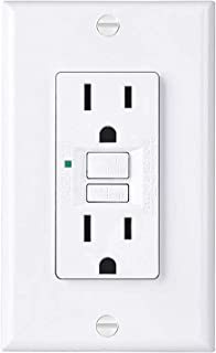 BESTTEN Slim GFI Receptacle, Self-Test GFCI Outlet with LED Indicator, Non-Tamper-Resistant Ground Fault Circuit Interrupter, 15A/125V/1875W, Decor Wall Plate Included, UL Listed, White