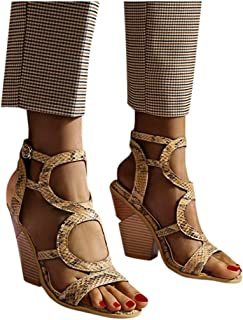 Corriee Roman Sandals for Women Casual Ankle Strap Gladiator Sandals Fashion Open Toe Chunky High Heel Shoes