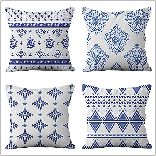 Pillow Case Cushion Cover, Geometria blu scuro 4 Pieces Pillow Case, Throw Pillow Covers, Home Decoration Pillow Case, Super Soft Sofa Cushion, for Living Room Sofa Bed Auto 50x50cm(20x20in)
