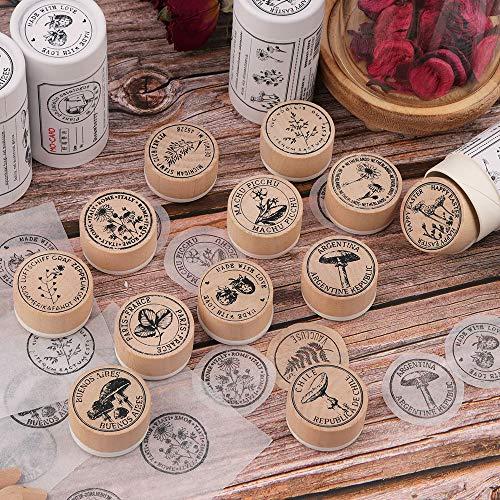 NOGAMOGA Holzstempel, Gummi-Stempel, Deko-Stempel für Karten, Bastelarbeiten, Papierhandwerk, Bullet-Tagebuch, Fotoalbum, Handbuch, 12 Stück a