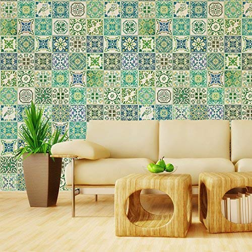 Walplus Adhesivos de pared extraíble Autoadhesivo Arte Mural VINILO DECORACIÓN HOGAR BRICOLAJE Living Cocina Dormitorio Decor papel pintado regalo Turquía Verde Azulejo Mosaico Pegatina - 20 cm x