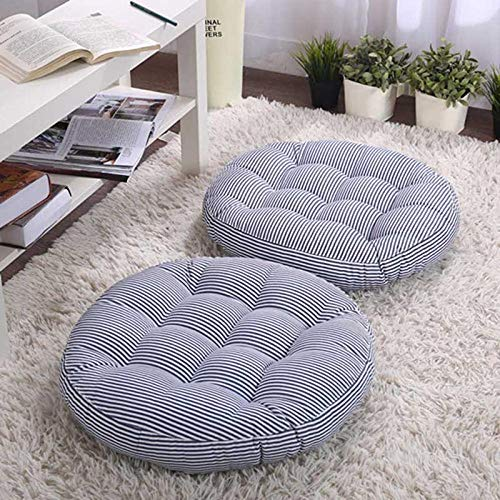 QIANBAOBAO Japan verdikt zitkussen Hidock orthopedische stoelkussen rond futon kantoor rugkussen tatami matras poef blauw strepen 42 x 42 x 5 cm