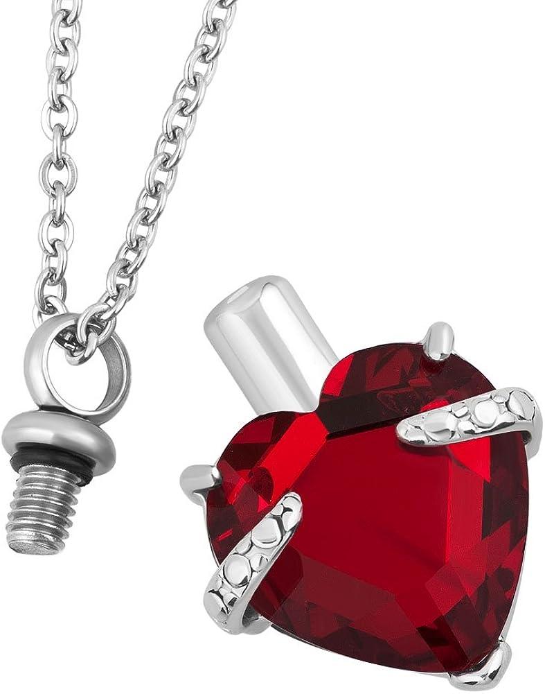 CharmSStory JAN-DEC Heart Urn Necklaces Cremation Ashes Holder Memorial Love Pendant