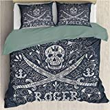 Skull Nautical Home Bedding 3-Piece Queen Bed Sheets Set, Lightweight Microfiber Cover Set Pirates...