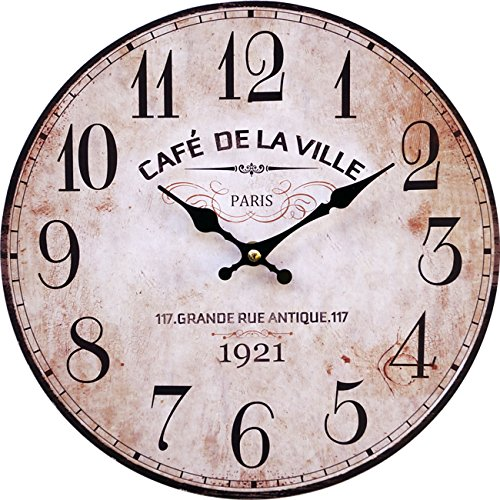 LB H&F Vintage Wanduhr lautlos ohne tickgeräusche Küchenuhr Lilienburg antik Shabby Chic Design Wand Cafe mit lautlosem Uhrwerk - KEIN Ticken