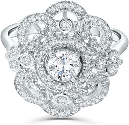 14K White Gold Womens Diamond Ring Victorian Desing Antique Look 7/8ctw Statement Ring 18mm