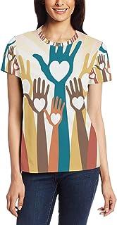 T Shirt voor Vrouwen Meisjes Elementen Handen omhoog Aangepaste Korte mouw