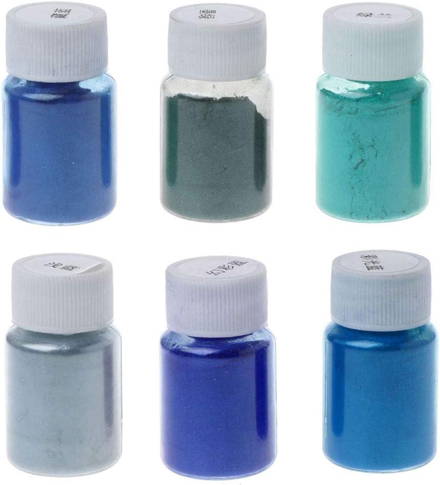 1 lot 6 couleurs de poudre de r/ésine de qualit/é cosm/étique XIAOSHA sans go/ût non toxique s/érie blanche. colorant min/éral mica naturel