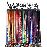 Goutoports Medal Holder Display Hanger Rack Frame for Sport Race Runner-Always Earned Never Given -Sturdy Black Steel Metal Over 60 Medals Easy to Install