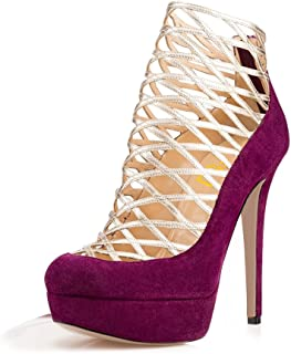 1a3ba985a9c2 YDN Women Sexy Strappy Platform High Heels Caged Bootie Pumps Hollow-Out  Ballroom Sandals Shoes