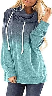 XINZHENG Girl's Fashion Coat European and American Fashion Loose Digital Printing Gradient Hooded Long Sleeve Sweater