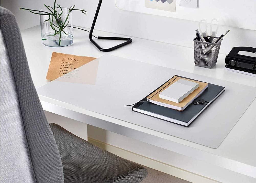 Tappetino da scrivania trasparente antiscivolo in PVC morbido testurizzato protezione da tavolo per ufficio//casa//scuola bordo rotondo protezione da scrivania 40*60cm Smerigliato