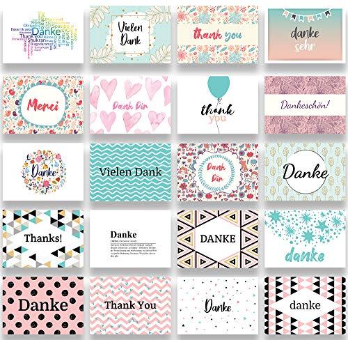 Friendly Fox Dankeskarten - 20 Postkarten zum Danke sagen - Blanko Karten Danke Karten Set