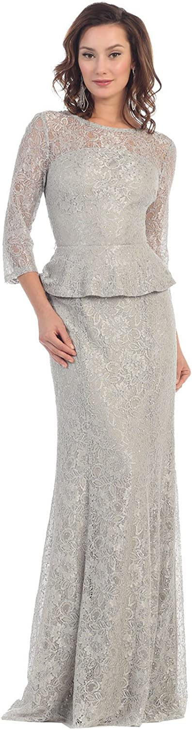 May Queen MQ1265 3 4 Sleeve Mother of The Bride Dress (6XL, Silver)