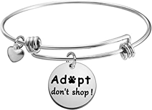 KUIYAI Adopt Don't Shop Dog Charity Bangle Bracelet Animal Lover Gift